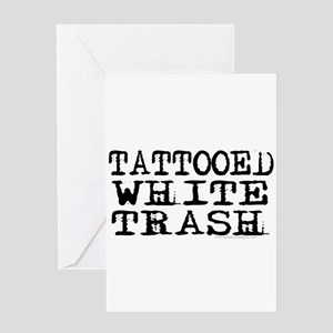 Tattooed white trash faded block text for white t-