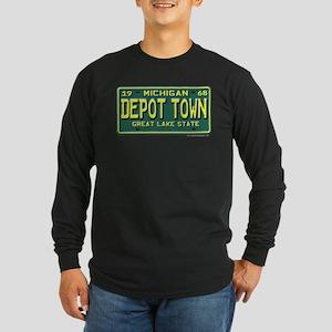 Depot Town License Plate Long Sleeve Dark T-Shirt