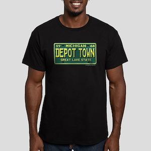 Depot Town License Plate Men's Fitted T-Shirt (dar