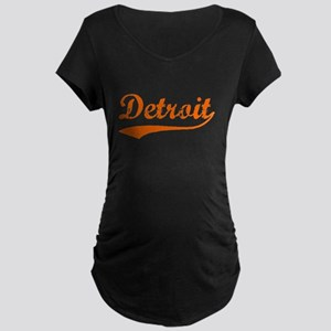 Detroit Script Distressed Maternity Dark T-Shirt