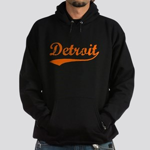 Detroit Script Distressed Hoodie (dark)