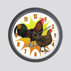 Sunburst Redcap Chickens Wall Clock