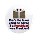 "Taxes You'd Save 3.5"" Button (100 pack)"