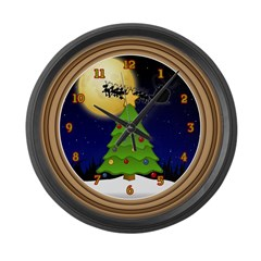 Santa's Sleigh Large Wall Clock