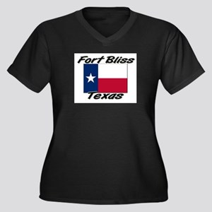Fort Bliss Texas Women's Plus Size V-Neck Dark T-S