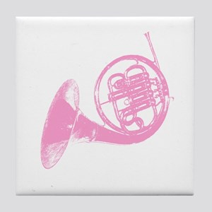 Pink French Horn Tile Coaster