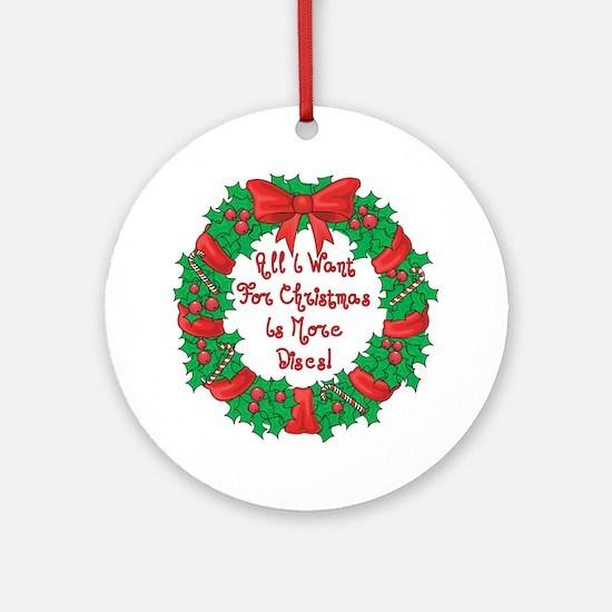 Wreath Disc Golf Christmas Ornament (Round)