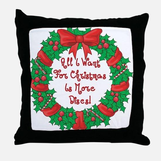 Wreath Disc Golf Christmas Throw Pillow