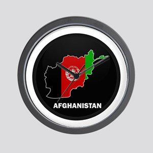 Flag Map of Afghanistan Wall Clock