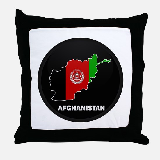 Flag Map of Afghanistan Throw Pillow