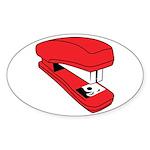 Red Stapler Oval Sticker (10 pk)