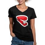 Red Stapler Women's V-Neck Dark T-Shirt