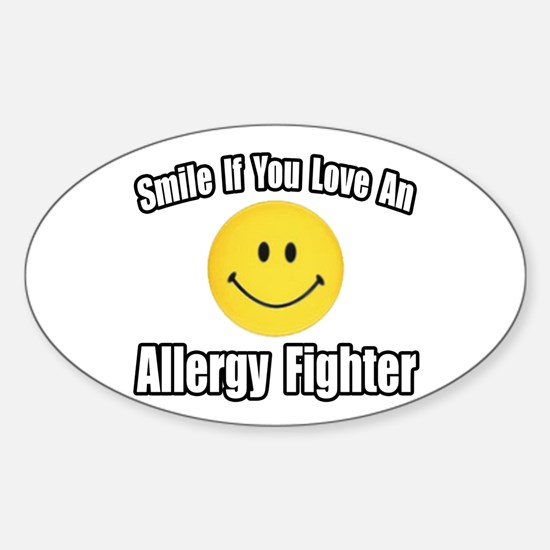 """Love an Allergy Fighter"" Oval Stickers"