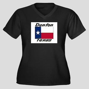 Denton Texas Women's Plus Size V-Neck Dark T-Shirt