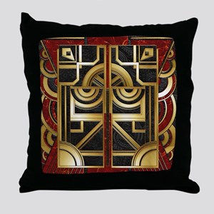 Harvest Moons Art Deco Gold Panel Throw Pillow