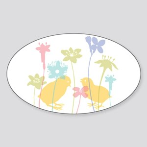 Spring Chicks Oval Sticker