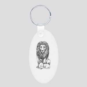 Lion Watching Over Lamb Tattoo Keychains