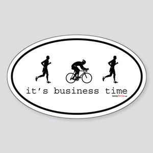 It's Business Time Duathlon Oval Sticker