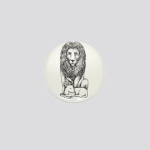 Lion Watching Over Lamb Tattoo Mini Button