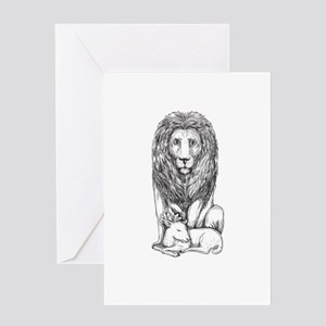Lion Watching Over Lamb Tattoo Greeting Cards