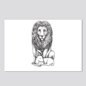 Lion Watching Over Lamb Tattoo Postcards (Package