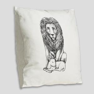 Lion Watching Over Lamb Tattoo Burlap Throw Pillow