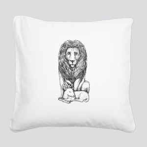 Lion Watching Over Lamb Tattoo Square Canvas Pillo