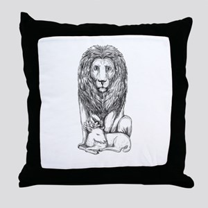 Lion Watching Over Lamb Tattoo Throw Pillow
