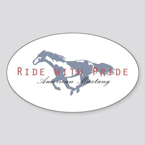 Mustang Horse Oval Sticker