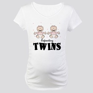 Expecting Twins Two girls Maternity T-Shirt