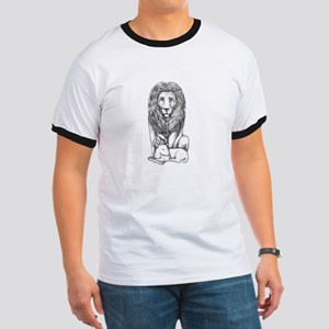 Lion Watching Over Lamb Tattoo T-Shirt