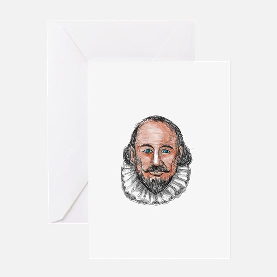 William Shakespeare Head Watercolor Greeting Cards