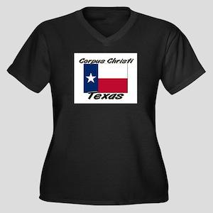 Corpus Christi Texas Women's Plus Size V-Neck Dark