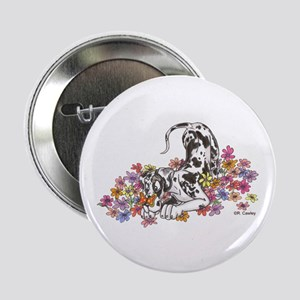 "NH Pup In Flowers 2.25"" Button"