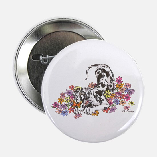 """NH Pup In Flowers 2.25"""" Button"""