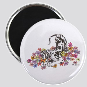 NH Pup In Flowers Magnet