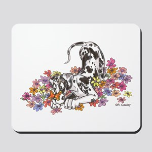 NH Pup In Flowers Mousepad