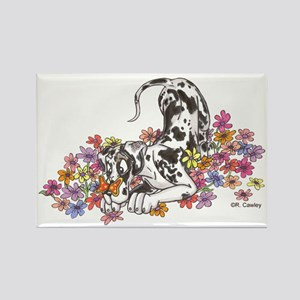 NH Pup In Flowers Rectangle Magnet