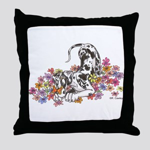 NH Pup In Flowers Throw Pillow