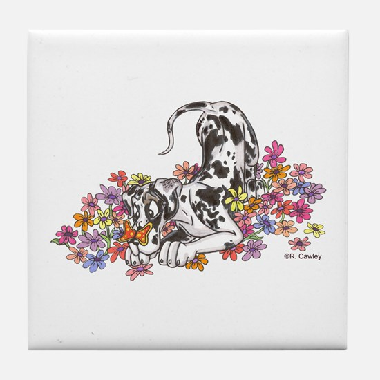 NH Pup In Flowers Tile Coaster