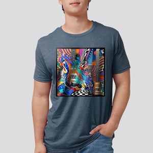 Rock Band Electric Guitar Colorful Music Print T-S
