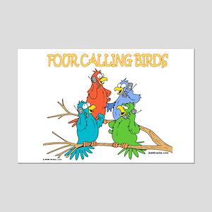 Four Calling Birds Mini Poster Print