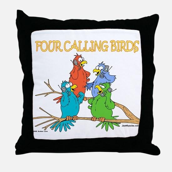 Four Calling Birds Throw Pillow