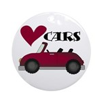 Red Car Love Cars Ornament (Round)