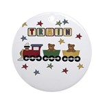 Train with Bears Ornament (Round)