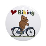 Love Biking Blue Bike Ornament (Round)