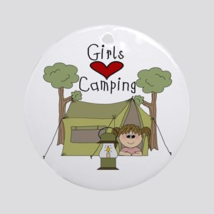 Girls Love Camping Ornament (Round)