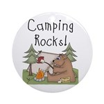 Bear Camping Rocks Ornament (Round)