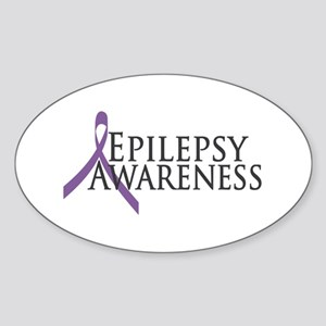 Epilepsy Awareness Ribbon Oval Sticker