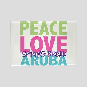 Peace Love Spring Break Aruba Rectangle Magnet